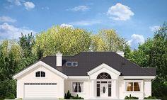 Elewacja frontowa projektu Willa parkowa Beautiful House Plans, Beautiful Homes, Bungalow, House Outside Design, Civil Construction, Precast Concrete, Cottage Plan, Model Homes, Modern House Design