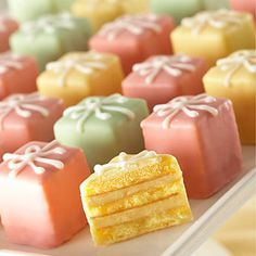 Stephanie Jaworski of . demonstrates how to make Petit Fours. For this recipe we're making Petit Fours Glacé as they consist of three layers of almond cake that are filled w. Tea Cakes, Mini Cakes, Cupcakes, Cupcake Cakes, Mini Desserts, Dessert Recipes, Baking Recipes, Cake Recipes, Petit Cake