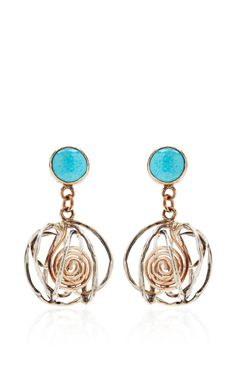 One of a kind 12K gold earrings with turquoise by Sandra Dini