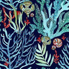 Coral Pattern by Anca Pora Ocean Illustration, Pattern Illustration, Coral Reef Art, Coral Reef Drawing, Coral Reefs, Underwater Drawing, Coral Painting, Sea Life Art, Ocean Life