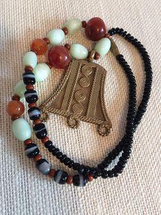 Unique Tribal Glass Beaded Necklace w/ Brass Pendant