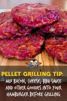 Pellet grilling tip: don't just pellet grill a regular cheeseburger! You can mix the cheese right into your burger, along with bacon, BBQ sauce, onion or garlic.  Whatever your favorite flavors are, put them into the hamburger then start pellet grilling! #cheeseburger #hamburger #pelletgrilling #pelletgrill Grilling Tips, Bbq Grill, Hamburger, Onion, Garlic, Goodies, Beef, Fire, Cheese