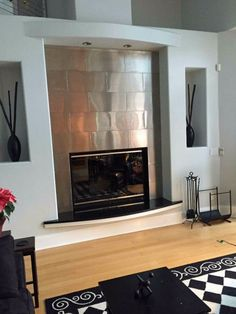 Image result for STAINLESS STEEL FIREPLACE SURROUND