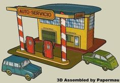 PAPERMAU: Spanish Service Station - A Vintage Paper Model - by Boga