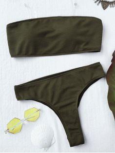 Textured High Leg Bandeau Bikini Set - GREEN S