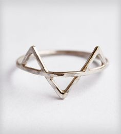 Silver Three Spikes Ring