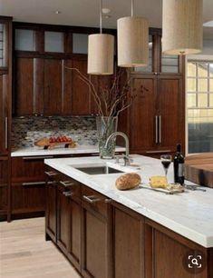 Small Cabin Bathroom, Cabin Bathrooms, Cherry Kitchen, Cherry Cabinets, Kitchen Cabinets, Home Decor, Decoration Home, Room Decor, Cabinets