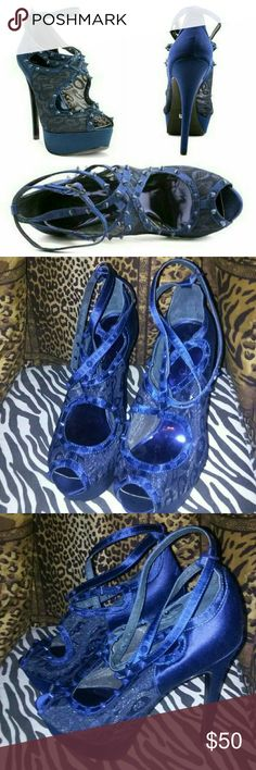 """Blue ABS Allen Schwartz Satin Spike Pump Brand new, never worn. Purchased last year and couldn't find a fit for, so stored away. Size 8.5 authentic ABS by Allen Schwartz deep blue (a brighter navy color) heels/pumps that feature 5"""" stiletto heel, lace and satin upper; adjustable ankle wrap; peep toe, and spike embellishments all over. ABS Allen Schwartz Shoes Heels"""