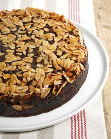"This delicious recipe for chocolate almond upside-down cake is courtesy of Gale Gand and can be found in her cookbook, ""Chocolate and Vanilla."""
