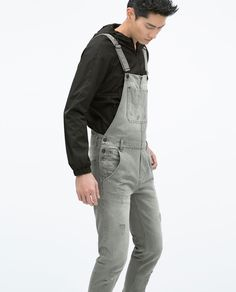 Image 4 of RIPPED DENIM DUNGAREES from Zara