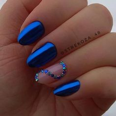 Cool Nail Art Designs For 2019 Cool Nail Art Designs For 2019 – style you 7 - Nail Designs Hair And Nails, My Nails, Crome Nails, Short Nails Art, Super Nails, Nail Decorations, Cool Nail Designs, Cool Nail Art, Nail Art Blue