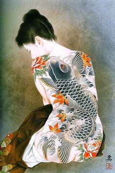 Kai Fine Art is an art website, shows painting and illustration works all over the world. Japanese Art Prints, Japanese Artwork, Japanese Tattoo Art, Japanese Tattoo Designs, Japanese Painting, Geisha Kunst, Geisha Art, Art Asiatique, Japan Tattoo