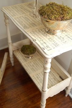 ivory sheet music decoupage table by Miss Mustard Seed. #shabby #DIY