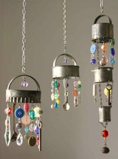 Wind chimes….made with the things in your grandmother's kitchen cupboards and drawers.