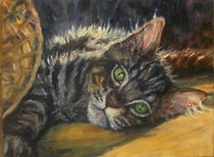 Tabby Reach Oil Painting Cat Pet Art Maine coon, painting by artist Debra Sisson