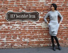 Hot Mess Sweatshirt Dress - DIY dress from a cheapo sweatshirt! | I am so making this (sans pockets...) Via Prudent Baby...going to make like 10 of these for the winter!!!