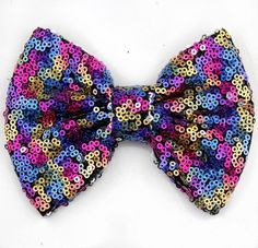 Rainbow sequin bow sequin messy bow headband by LillyBelleMarket