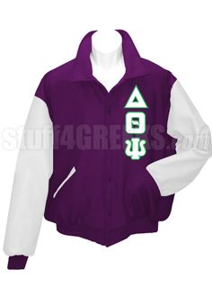 Purple Delta Theta Psi Letterman Varsity Jacket with white sleeves and the Greek letters down the left.