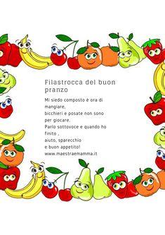 #alimentazione #scuola #infanzia #mensa Baby Food Combinations, World Book Day Costumes, Montessori Elementary, Baby Bouncer, Italian Language, Learning Italian, Homemade Baby, Kids Education, Nursery Rhymes