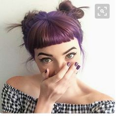 32 lovely purple hair color ideas trending in 2019 4 Short Hair With Bangs, Hairstyles With Bangs, Pretty Hairstyles, Short Hair Styles, Curly Haircuts, Short Fringe Hairstyles, Glam Hairstyles, Short Purple Hair, Scene Hairstyles