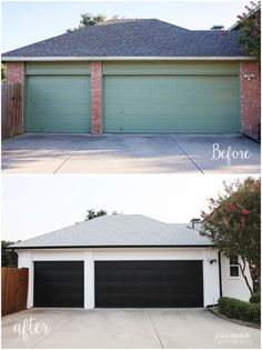 Garage Door Makeover. Painted orange brick a stunning white with black gutters…