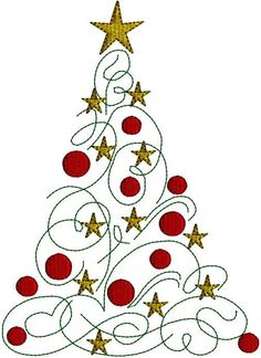 Christmas Tree  Ornamnts Stars  Christmas Holiday Modern Christmas Tree Embroidery Design Pattern 3 hoop sizes. $3.99, via Etsy.