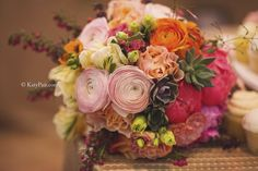 Bright and colorful bridal bouquet.