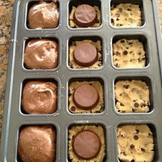 O.M.G!! Preheat oven to 350; smoosh 1.5 squares of break-apart refrigerated cookie dough into the bottom of each well.  place reese cup upside down on top of cookie dough (or an oreo!).  top with prepared box brownie mix, filling 3/4 full.  bake for 18 minutes!  heaven.