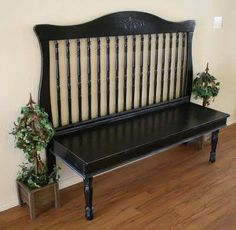 """Crib repurpose Really liking this! I need a bench to go by my antique cedar closet & """"command center"""" :)"""