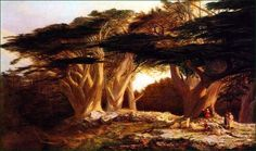 """The Cedars of Lebanon by Edward Lear, British Oil, 1862.  It was Edward Lear who was first credited with calling Lebanon """"The Switzerland of the Middle East.  """"Orientalist Art Page Six"""