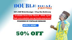 Get 50% discount on web design service plus pay on delivery option.