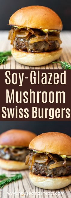 Soy Glazed Mushroom Swiss Burger with Caramelized Onions & Rosemary Aioli