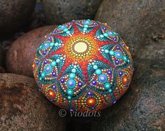 Mandala Stein, von Hand bemalt, dot painting