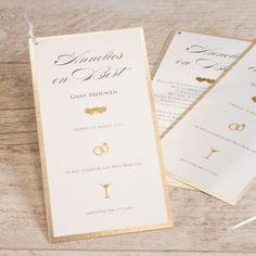 Save the date voor jullie perfecte huwelijk. www.tadaaz.be | Tadaaz #wedding #gold #classy #invite #huwelijk #chic Wedding Bells, Place Cards, Place Card Holders, Motifs, Champagne, Chic, Invitations, Stationery Shop, White Ribbon
