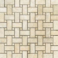 Misty Cloud Brushed Marble Stone Tile -  1x2 Basketweave