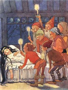 'The Seven dwarfs stood round the sleeper, holding their candles over her to see her better.' Snow White Illustration from Fairy Tales - With Illustrations by Margaret Tarrant Original Fairy Tales, Charles Perrault, Brothers Grimm, Seven Dwarfs, 7 Dwarfs, Children's Book Illustration, Macabre, Faeries, Fairy Tail