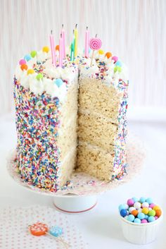 Sprinkle Bakes: Rice Krispie Treat Sprinkle Cake- could probably make this into a gluten free cake