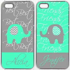 Cute!! - Best Friend phone case, Samsung Galaxy S4 Case, Samsung Galaxy S3 Case, iphone 4s case, iPhone 5 Case, Best Friends, Elephant Set Of 2 (577)