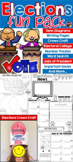 "Help your students learn about elections with this elections fun pack! There are venn diagrams, writing pages, an ""I Voted"" crown craft, jobs of the president, important issues, elections number puzzles, a word search and more! #TeacherGems"