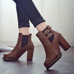 Zapatos de mujer - Tacón Robusto - Comfort / Botines - Botas - Vestido / Casual - Semicuero - Negro / Marrón 4296582 2016 – $27.99