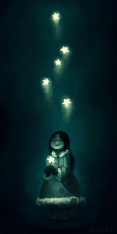 illustration, figure, child, girl, front, holding, night, stars, lighting, winter, magic. Aliyah by tadeles