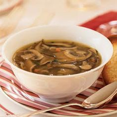 Wild mushroom soup is a savory starter that can be made up to a day in advance. Any combination of mushrooms will work well in this recipe. Reheat over medium heat. Serve with thin toasted baguette slices lightly brushed with olive oil and sprinkled with Wild Mushroom Soup, Mushroom Soup Recipes, Wild Mushrooms, Stuffed Mushrooms, Stuffed Peppers, Mushroom Stock, Mushroom Recipe, Healthy Soup Recipes, Ww Recipes
