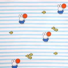 Printed jersey fabric with Miffy in the zoo striped The Zoo, Miffy, Snoopy, Fictional Characters, Etsy, Light Blue, Stripes, Fabrics, Fantasy Characters