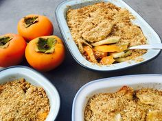 Persimmon and Apple Crumble Persimmon Recipes, Apple Recipes, Side Dishes, Deserts, Snacks, Chicken, Fruit, Ethnic Recipes, Food