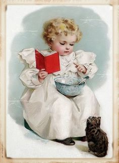 """""""Girl Teaches Cat to Read"""" illustration,by Maud Humphrey Images Vintage, Vintage Cat, Vintage Labels, Vintage Ephemera, Vintage Pictures, Vintage Postcards, She And Her Cat, Vintage Greeting Cards, Vintage Children"""