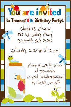 Garden Bugs Kid Hair 3rd Birthday Ideas Party Invitations