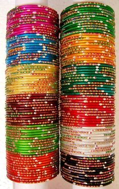 Indian Bangles/ I have the teal ones :-) Gold Bangles, Silver Bracelets, Bangle Bracelets, Indian Bangles, Hyderabadi Jewelry, Silk Thread Bangles Design, Bangles Making, Bollywood Jewelry, Gold Earrings Designs