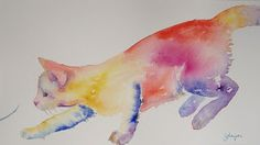 colorful watercolor cat