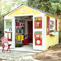 After: Garden Shed with Extra Storage - How fun looking is this! I think I need one of these for our yard. It would look great near a pool as storage for pool toys, chairs, umbrellas, etc. Love it!
