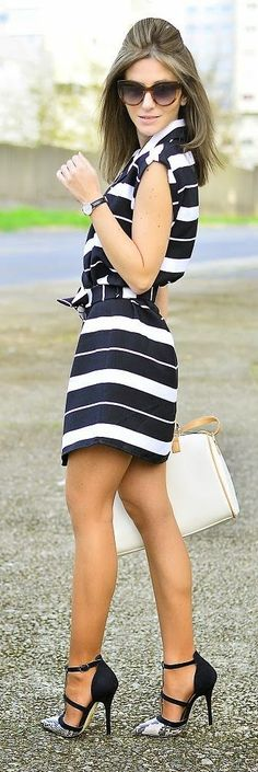 Sleeveless Striped Trench Dress with High Heels | Spring Street Outfits